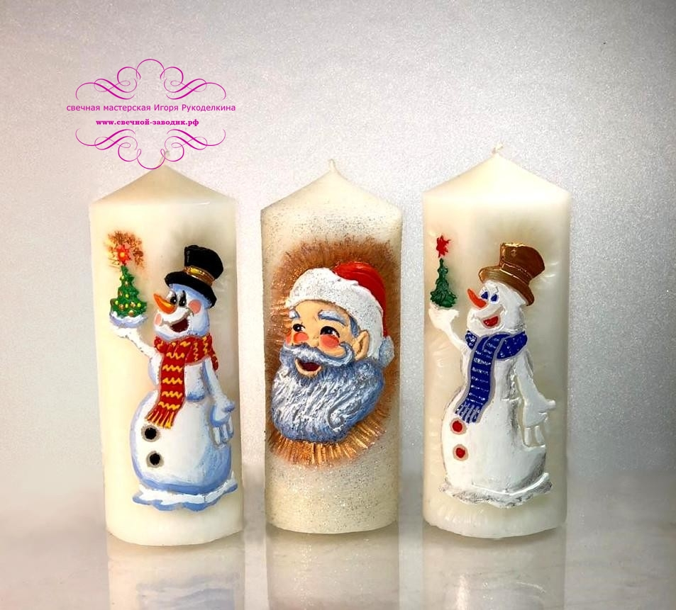 Свечи Новогодние столбики. Ручная резьба.