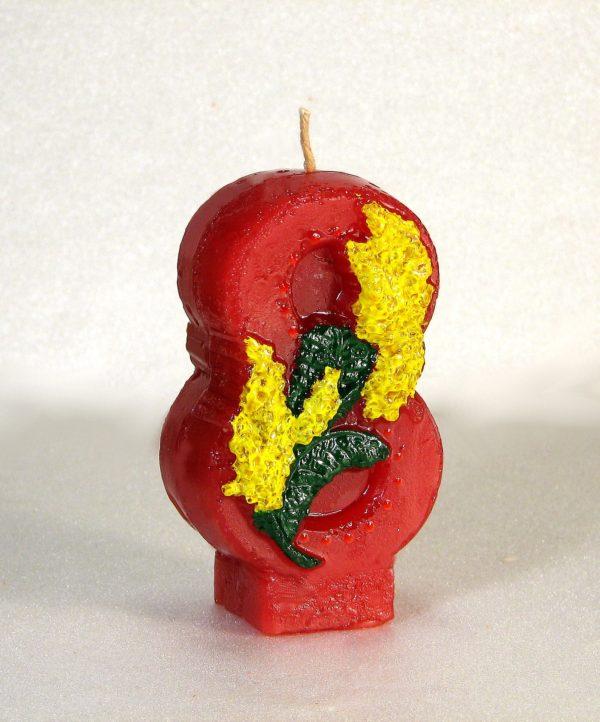 свеча к 8 марта красная с мимозой