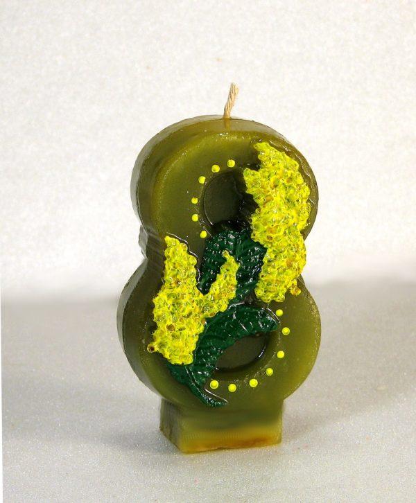 свеча к 8 марта зеленая с мимозой