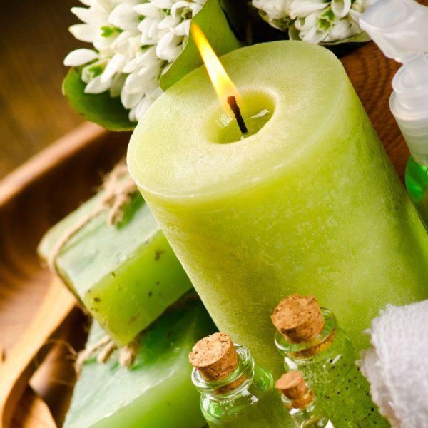 свеча столбик зеленый